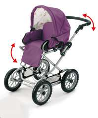 BRIO Puppenwagen Premium Combi, violett (incl. Tasche) - Bild 4 - Klicken zum Vergößern