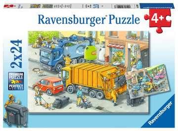 Müllabfuhr u.Abschleppw.2x24p Puslespil;Puslespil for børn - Billede 1 - Ravensburger