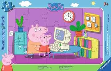 Puzzle cadre 15 p - Devant l ordinateur / Peppa Pig Puzzle;Puzzle enfant - Image 1 - Ravensburger