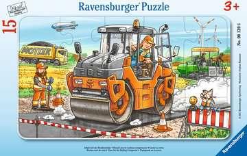 06139 Kinderpuzzle Arbeit mit der Straßenwalze von Ravensburger 1