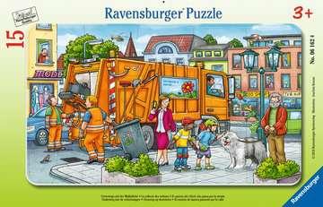 06162 Kinderpuzzle Unterwegs mit der Müllabfuhr von Ravensburger 1