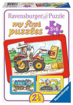 06573 Kinderpuzzle Bagger, Traktor und Kipplader von Ravensburger 1