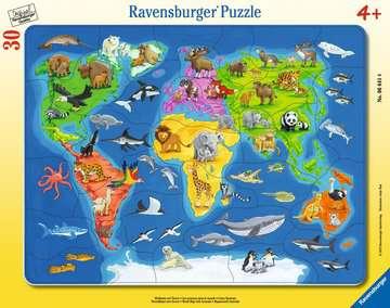 06641 Kinderpuzzle Weltkarte mit Tieren von Ravensburger 1