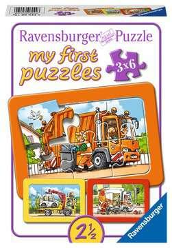 Müllabfuhr, Krankenwagen, Abschleppwagen Puzzle;Kinderpuzzle - Bild 1 - Ravensburger