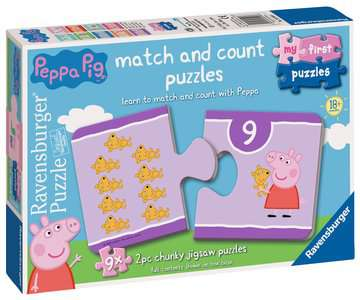 Peppa Pig My First Match and Count Puzzles, 9 x2pc Puzzles;Children s Puzzles - image 1 - Ravensburger