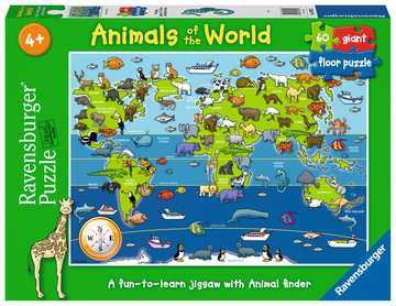 Animals of the World Giant Floor Puzzle, 60pc Puzzles;Children s Puzzles - image 1 - Ravensburger