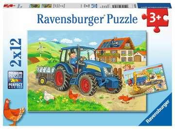 Baustelle und Bauernhof   2x12p Puslespil;Puslespil for børn - Billede 1 - Ravensburger