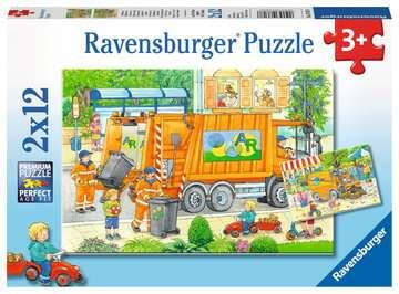 07617 Kinderpuzzle Unterwegs mit Müllabfuhr und Kehrmaschine von Ravensburger 1