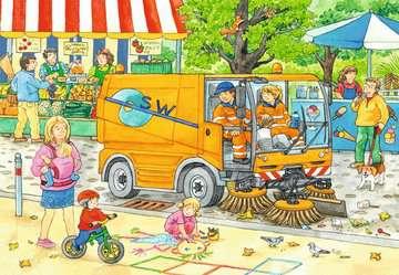 07617 Kinderpuzzle Unterwegs mit Müllabfuhr und Kehrmaschine von Ravensburger 2