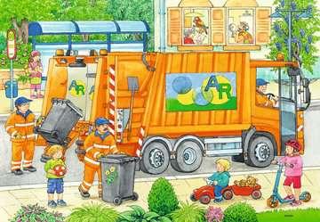 07617 Kinderpuzzle Unterwegs mit Müllabfuhr und Kehrmaschine von Ravensburger 3