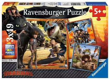 How to Train your Dragon 3x49pc Puzzles;Children s Puzzles - image 1 - Ravensburger