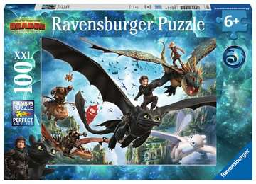 Dragons A Ravensburger Puzzle  100 pz. XXL Puzzle;Puzzle per Bambini - immagine 1 - Ravensburger