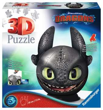Dragons 3 Toothless 3D Puzzle, 72 pc 3D Puzzle®;Puslebolde - Billede 1 - Ravensburger