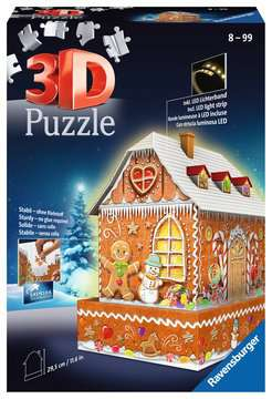 Ravensburger Christmas Gingerbread House Night Edition 216 piece 3D Jigsaw Puzzle with LED lighting for Kids age 8 years and up 3D Puzzle®;Night Edition - image 1 - Ravensburger