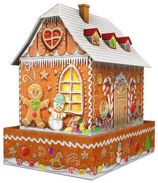 Ravensburger Christmas Gingerbread House Night Edition 216 piece 3D Jigsaw Puzzle with LED lighting for Kids age 8 years and up 3D Puzzle®;Night Edition - image 3 - Ravensburger