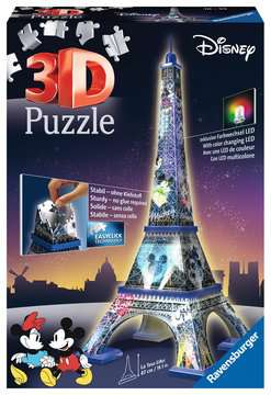 Eiffel Tower Disney at night Paris  3D Puzzle, 216pc 3D Puzzle®;Natudgave - Billede 1 - Ravensburger