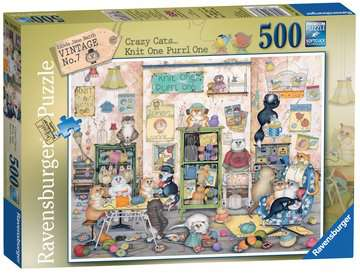 Crazy Cats Vintage - Knit one, Purrl one, 500pc Puzzles;Adult Puzzles - image 1 - Ravensburger