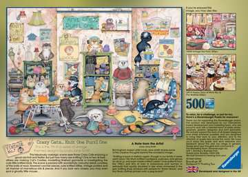 Crazy Cats Vintage - Knit one, Purrl one, 500pc Puzzles;Adult Puzzles - image 3 - Ravensburger