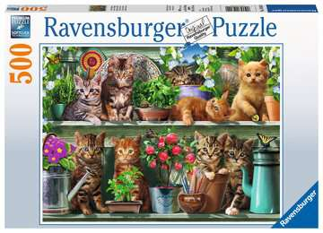 Cats on the Shelf, 500pc Puslespil;Puslespil for voksne - Billede 1 - Ravensburger