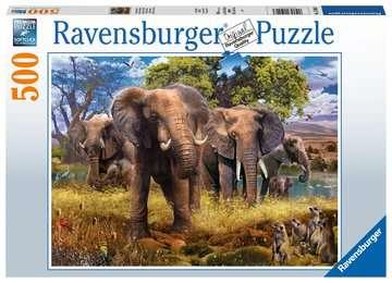 Puzzle 500 p - Famille d éléphants Puzzle;Puzzle adulte - Image 1 - Ravensburger