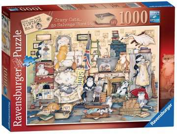 Crazy Cats - Go Salvage Hunting, 1000pc Puzzles;Adult Puzzles - image 1 - Ravensburger