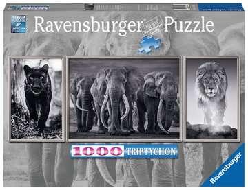 16729 Erwachsenenpuzzle Panter, Elefanten, Löwe von Ravensburger 1