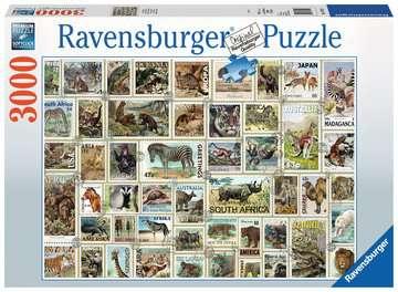Animal Stamps, 3000pc Puslespil;Puslespil for voksne - Billede 1 - Ravensburger