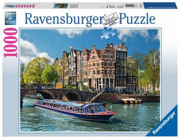 Grachtenfahrt in Amsterdam Puzzle;Erwachsenenpuzzle - Bild 1 - Ravensburger