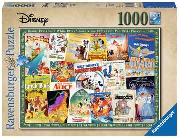 Disney Vintage Movie Posters, 1000pc Puslespil;Puslespil for voksne - Billede 1 - Ravensburger