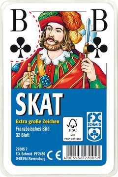 27005 Kartenspiele Klassisches Skatspiel, Französisches Bild mit großen Eckzeichen, 32 Karten in Klarsicht-Box von Ravensburger 1