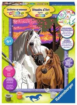 Paarden in de zonsondergang Hobby;Schilderen op nummer - image 1 - Ravensburger