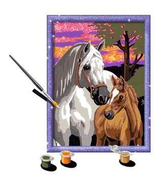 Numéro d art - moyen - Chevaux au coucher de soleil Loisirs créatifs;Peinture - Numéro d'Art - Image 3 - Ravensburger