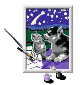 Numéro d art - petit - Chiot Husky et son compagnon le chaton Loisirs créatifs;Peinture - Numéro d'Art - Image 3 - Ravensburger