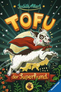 """Das Cover von """"Tofu, der Superhund"""" zeigt schwarz-weißen Hund."""