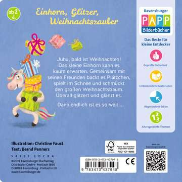 43794 Babybücher und Pappbilderbücher Das Einhorn feiert Weihnachten von Ravensburger 3