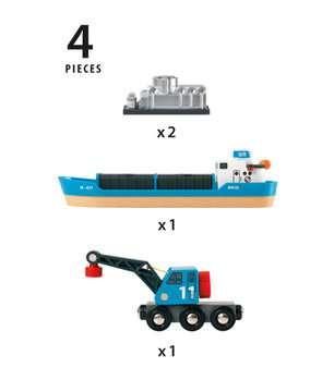 63353400 BRIO Eisenbahn Containerschiff mit Kranwagen von Ravensburger 4