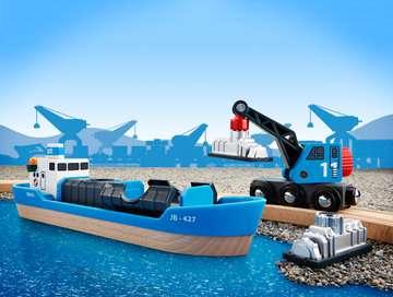 63353400 BRIO Eisenbahn Containerschiff mit Kranwagen von Ravensburger 5