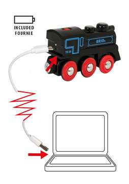 63359900 BRIO Eisenbahn Schwarze Akku-Lok mit Mini-USB von Ravensburger 6